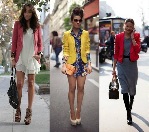 Vestido com blazer colorido - como usar
