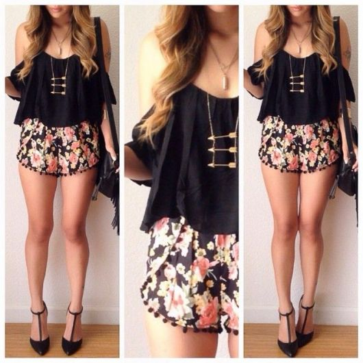 look descolado com short floral leve