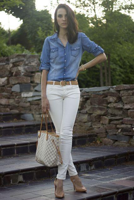 look jeans com jeans com calça branca