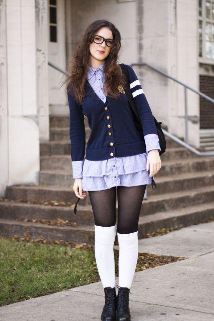 look para escola com meia calça e uniforme