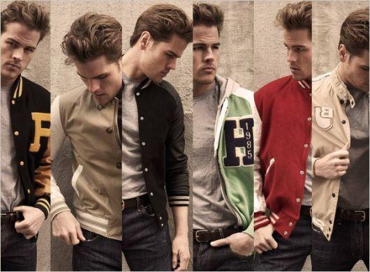 camisetas com jaqueta college look masculino
