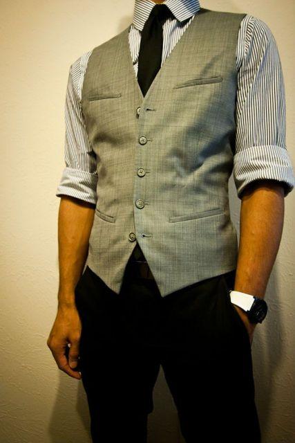 gravata slim com colete