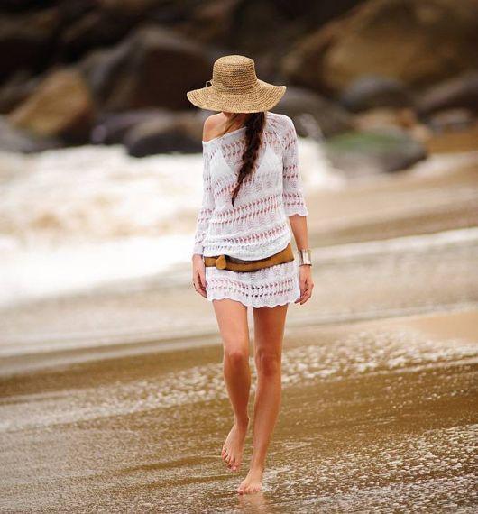 saida de praia de renda transparente