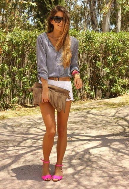 look casual com short curto