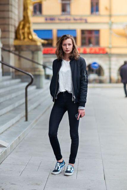 calça skinny com jaqueta bomber