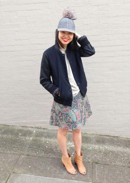 saia floral com jaqueta bomber