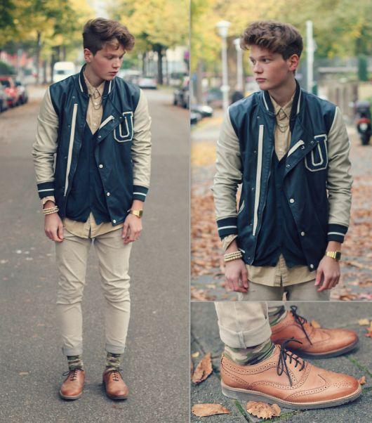 combinar jaqueta college com sapato social