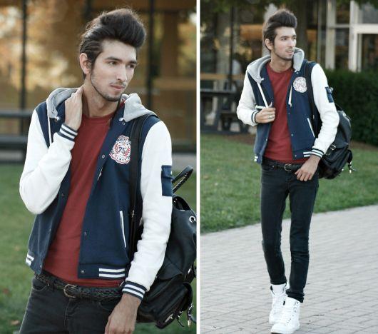 calça jeans azul escuro com jaqueta college masculina