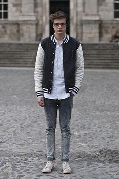 jaqueta college look masculino basico