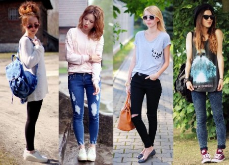 look para ir a escola com calça jeans azul