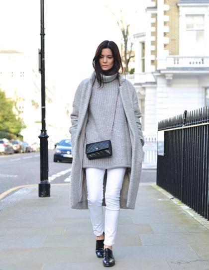 jeans brancos em look inverno