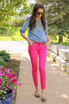 jeans com jeans com calça rosa