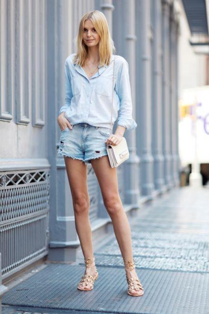 jeans claro ideias para usar