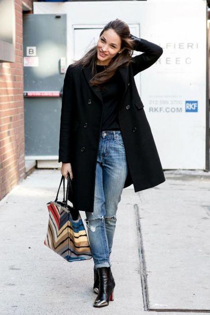 como usar blazer e jeans em look inverno