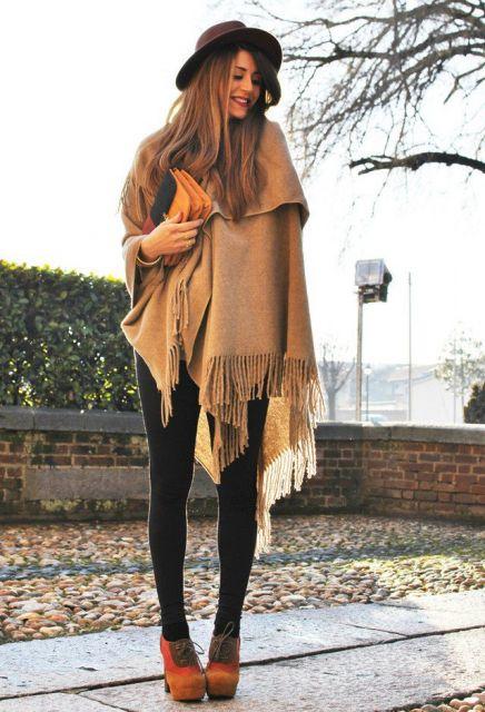 look inverno com manta e legging