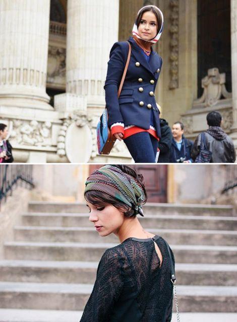exemplo de como usar lenço na cabeça elegante