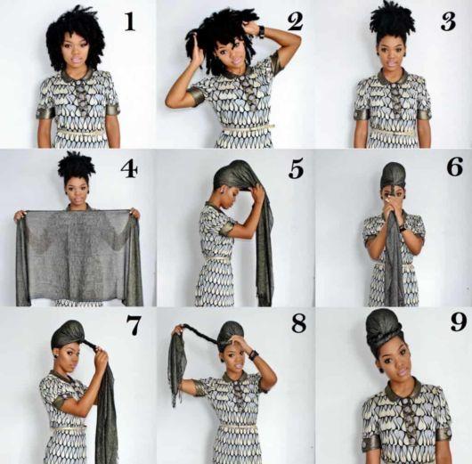 passo a passo de como usar lenço na cabeça para cabelo crespo