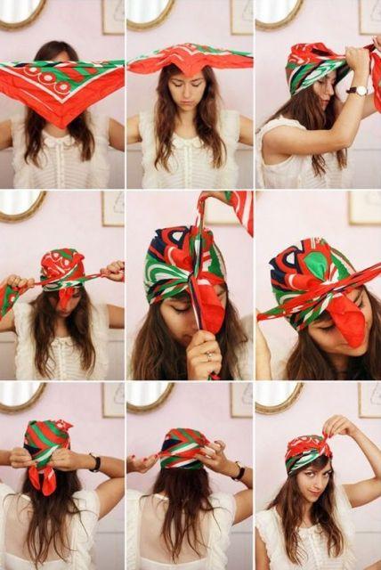 exemplo de como usar lenço na cabeça tutoriais