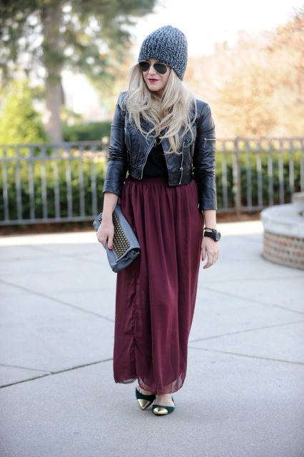 look inverno com saia longa estilosa