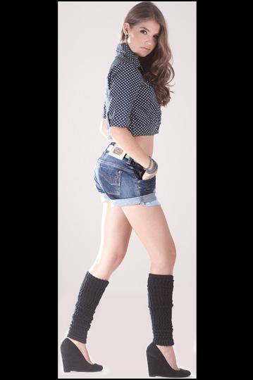 polaina com short jeans