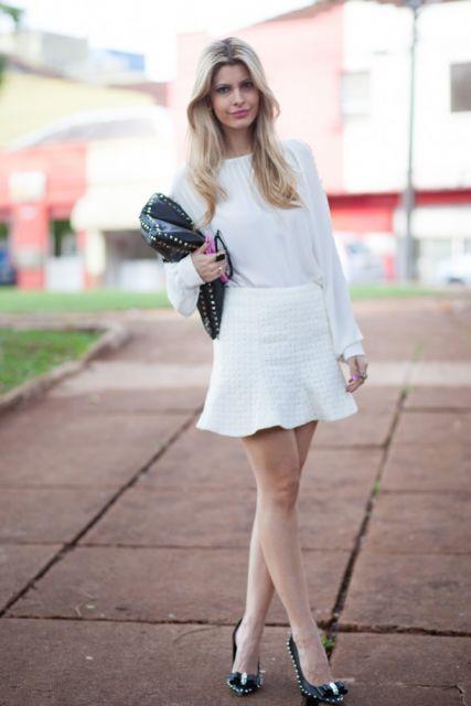 look branco trabalho com saia e blusa