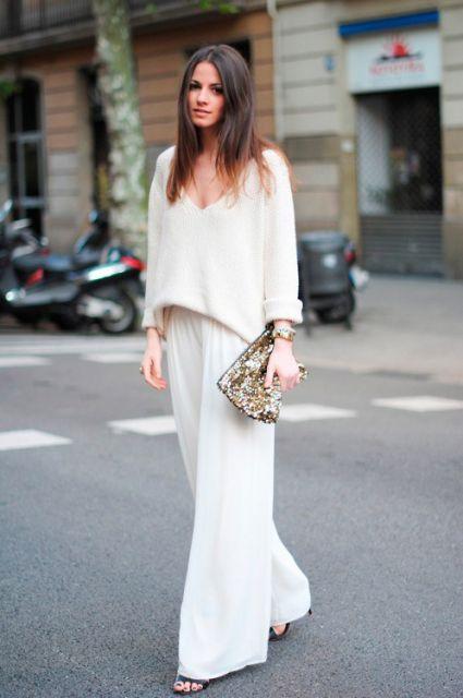 look branco com pantalona