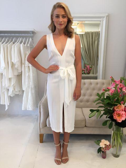 look branco vestido longo