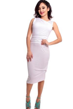 vestido tubinho simples em look branco