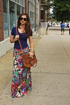 look casual com saia longa floral