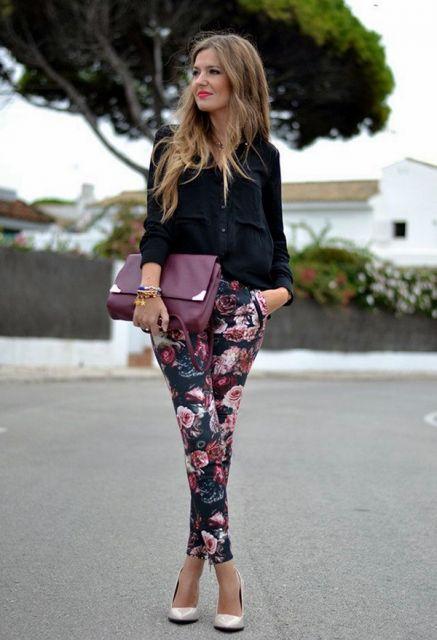 legging floral em look casual inverno