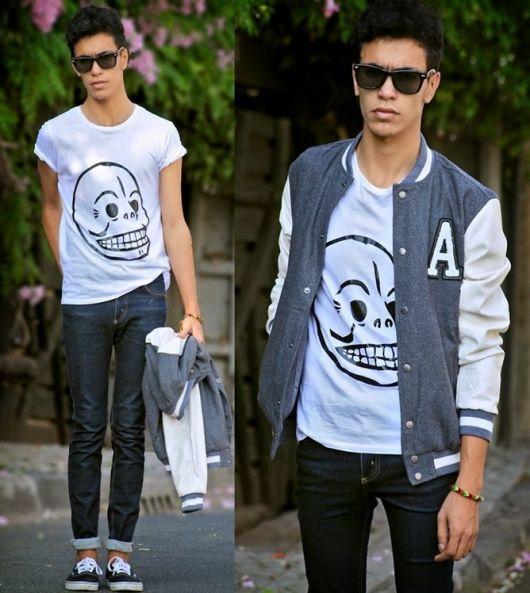 como combinar camiseta com jaqueta college masculina