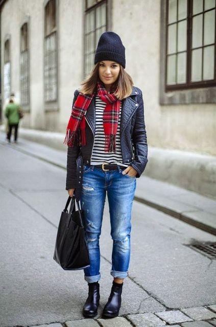 look inverno com jeans e coturno