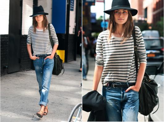 combinar listras com jeans