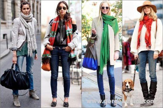 combinar cachecol com jeans