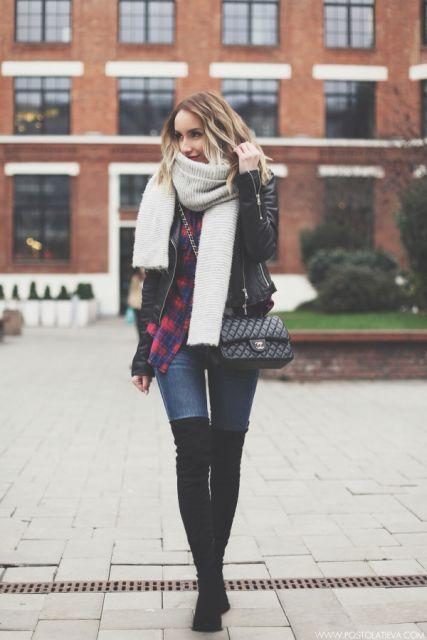 look inverno com jeans e bota cano alto