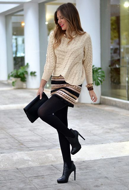 mini saia estampada para look casual inverno