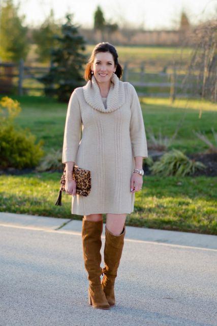 vestido de tricô na moda inverno