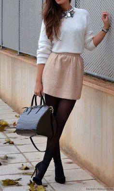 look inverno basico simples com saia
