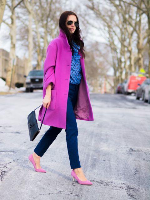 dicas para look inverno usando sapato rosa