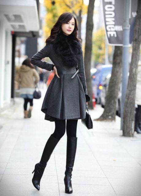 look inverno com cinza e preto
