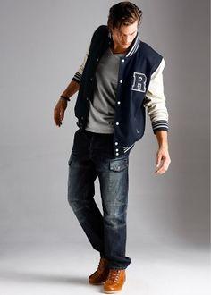 combinar calça com jaqueta college masculina