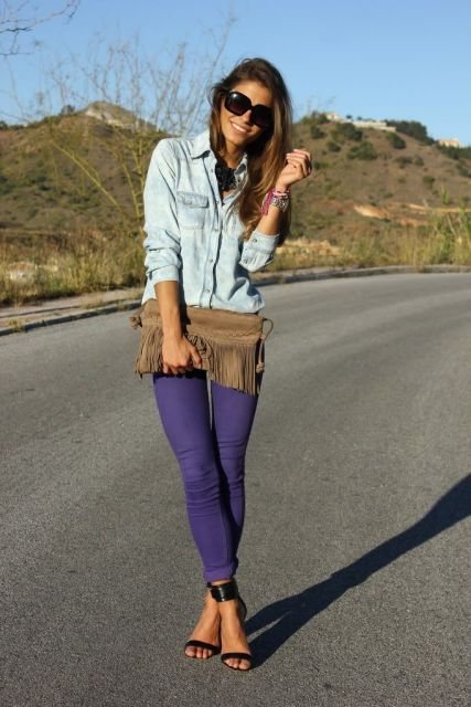 jeans basico roxo look