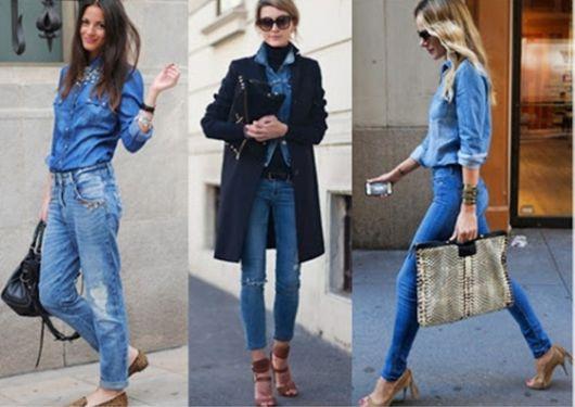 como combinar calça com blusa jeans