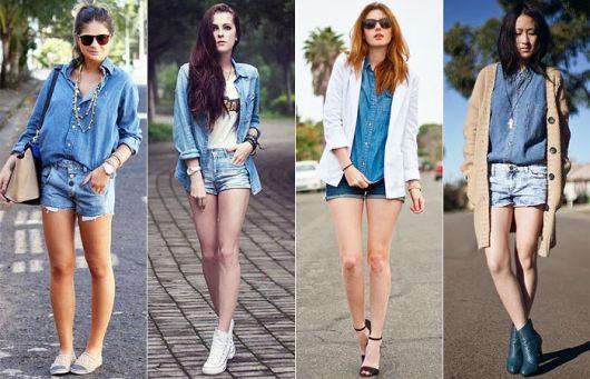 short com blusa jeans diversos looks