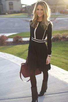 look inverno preto com bota cano médio