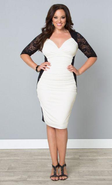 vestido branco com casaco preto de croché
