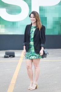 Look vestido estampado verde