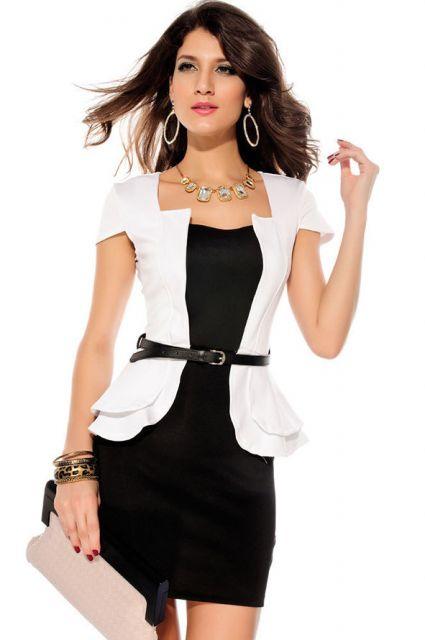 vestido preto e blusa branca em look trabalho