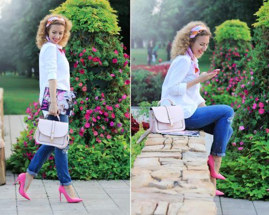 moda primavera com sapato rosa salto alto fino