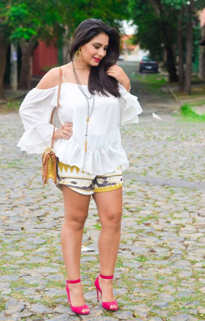 peep toe com short estampa etnica